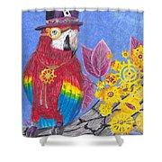 Parrot In Gear Tree Shower Curtain