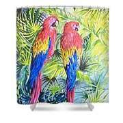 Parrots In Jungle Shower Curtain