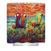 Parrots On The Beach Painterly Shower Curtain