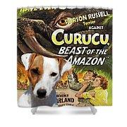 Parson Russell Terrier Art Canvas Print - Curucu  Movie Poster Shower Curtain