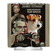 Parson Russell Terrier Art Canvas Print - Rear Window Movie Poster Shower Curtain