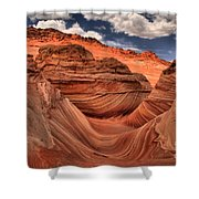 Partly Cloudy At The Wave Shower Curtain