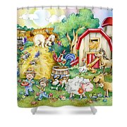 Party At The Farm Shower Curtain