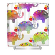 Party Parade - Elephant Children Pattern Shower Curtain