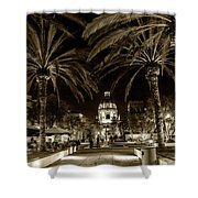 Pasadena City Hall After Dark In Sepia Tone Shower Curtain