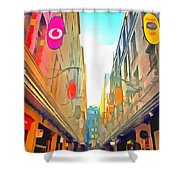 Passage Between Colorful Buildings Shower Curtain