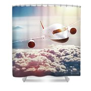 Passenger Airplane Flying At Sunset, Blue Sky. Shower Curtain