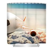 Passenger Airplane Flying At Sunshine, Blue Sky. Shower Curtain