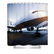 Passenger Airplane On The Airport Parking Shower Curtain