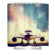 Passenger Airplane Taking Off On Runway At Sunset Shower Curtain