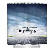 Passenger Airplane Taking Off On Runway Shower Curtain