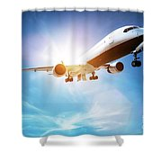 Passenger Airplane Taking Off, Sunny Blue Sky. Shower Curtain