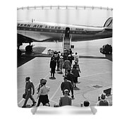 Passengers Boarding A Plane Shower Curtain