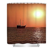 Passing By In Calm Waters Shower Curtain