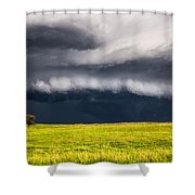 Passing By - Storm Passes By Lone Tree In Western Nebraska Shower Curtain