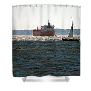 Passing Ships Shower Curtain