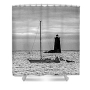 Passing Whaleback Light In The Early Morning Shower Curtain