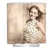Past Hairstyles Pinup Shower Curtain