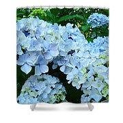 Pastel Blue Hydrangea Flowers Green Garden Floral Shower Curtain