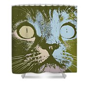 Pastel Cat Pop Art Shower Curtain by Shelli Fitzpatrick