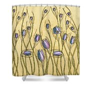 Pastel Floral Pattern On Soft Yellow Background Shower Curtain