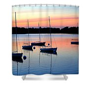 Pastel Lake And Boats Simphony Shower Curtain