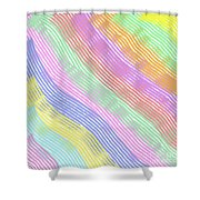 Pastel Stripes Angled Shower Curtain