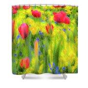 Pastel Summer Flowers  Shower Curtain