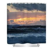 Pastel Sunset Over Stormy Waves Shower Curtain