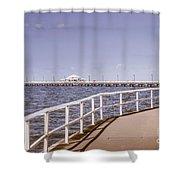 Pastel Tone Sea Pier Landscape Shower Curtain