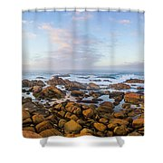 Pastel Tone Seaside Sunrise Shower Curtain