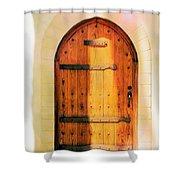 Pastel Wooden Door Shower Curtain
