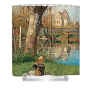 Pastoral Scene On The Bank Of The Loing Shower Curtain