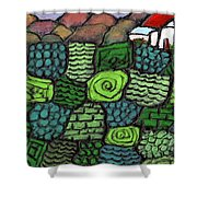 Patches Of Green Shower Curtain