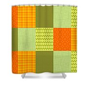 Patchwork Patterns - Orange And Olive Shower Curtain