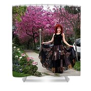 Patchwork Skirt - Hippie Fashion - Pink Spring Shower Curtain