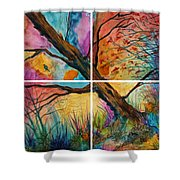 Patchwork Sky Tree Painting With Colorful Sky Shower Curtain
