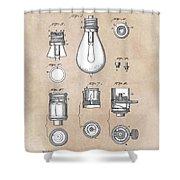 patent art Edison 1890 Lamp base Shower Curtain