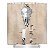 patent art Edison 1892 Incandescent electric lamp Shower Curtain