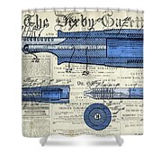 Patent, Old Pen Patent,blue Art Drawing On Vintage Newspaper Shower Curtain