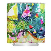 Path Around The Lake Shower Curtain