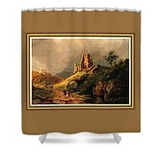 Path Next To The Ruins Of Belloque Castle L B With Decorative Ornate Printed Frame. Shower Curtain