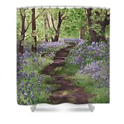 Path Through The Bluebells Shower Curtain