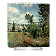 Path Through The Poppies Shower Curtain by Claude Monet