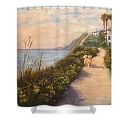Path To Bacara , With Golden  Shower Curtain