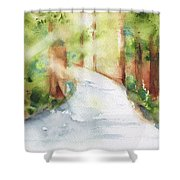 Path To Light Watercolor Shower Curtain