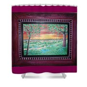 Path To The Pedernales River With Painted Frame Shower Curtain