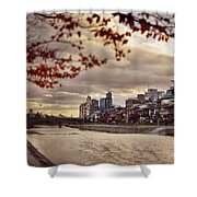Pathway Along Kamo River In A Beautiful Dramatic Autumn Sunset S Shower Curtain