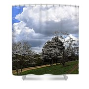 Pathway Along The Dogwood Trees Shower Curtain