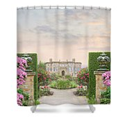 Pathway Leading To A Mansion Through Beautiful Gardens Shower Curtain